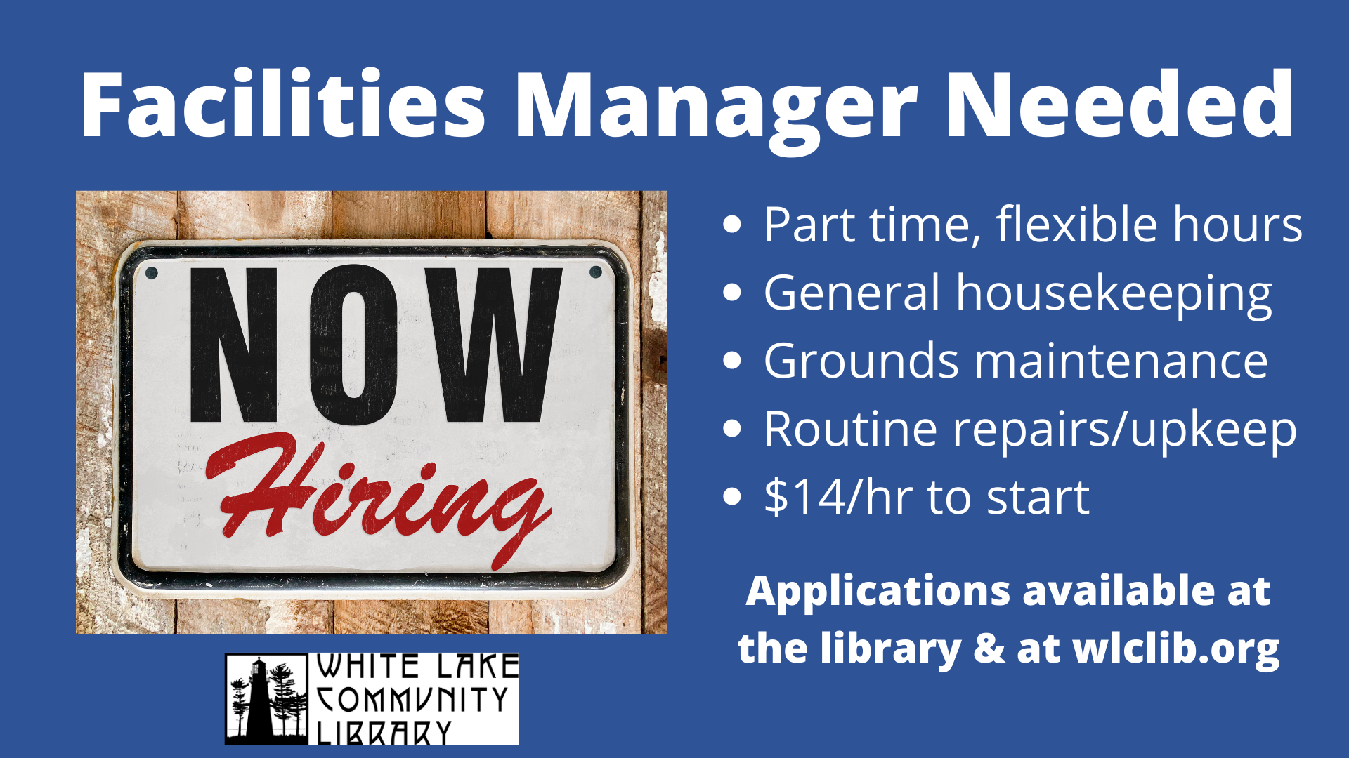facilities manager posting 2021
