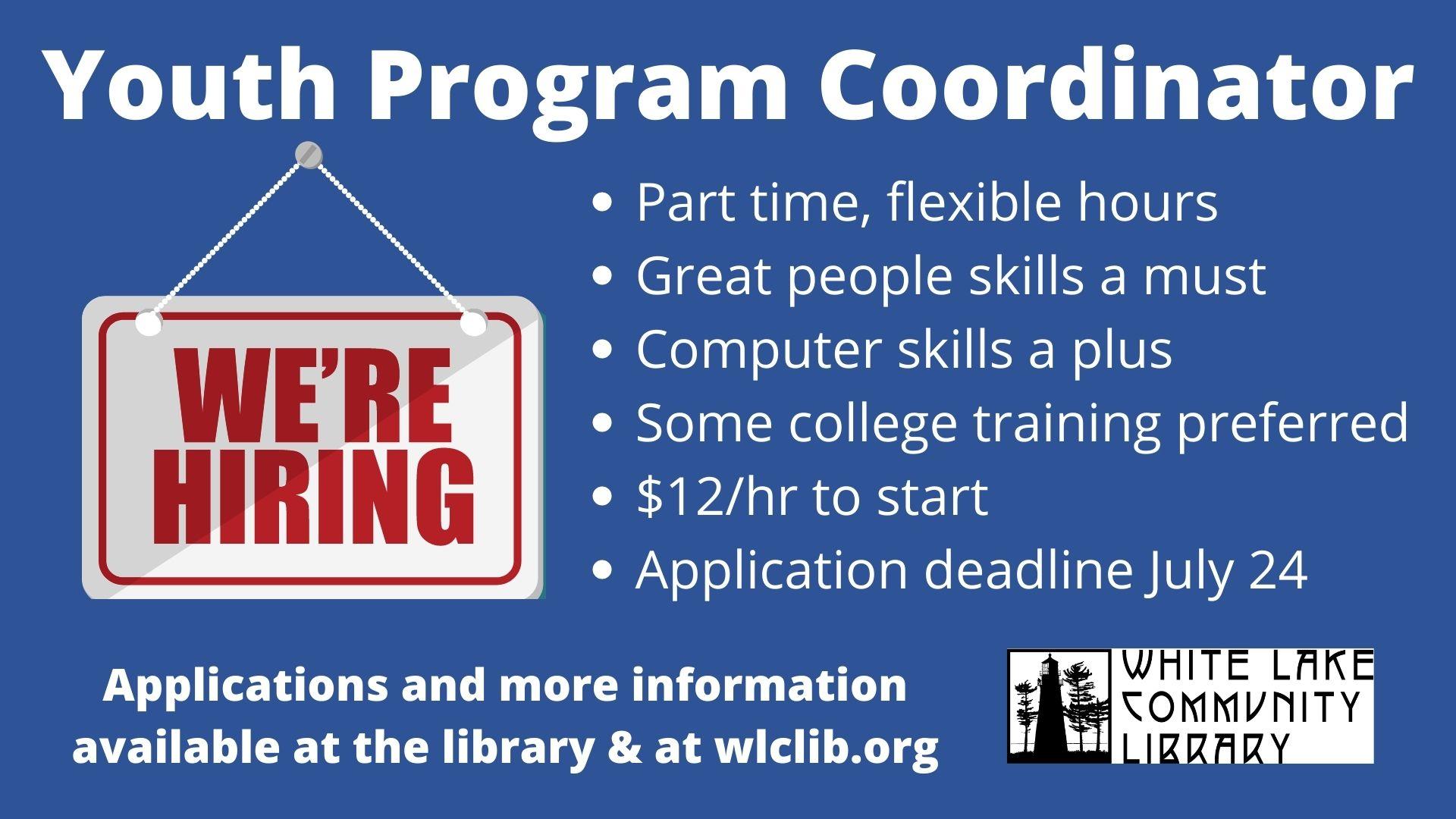 Job Opening - Youth Program Coordinator 2021