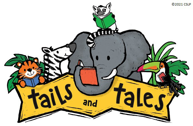 Picture of elephant, lemur, tiger, toucan, and zebra with the phrase Tails and Tales