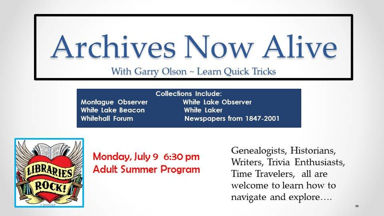 Archives Now Alive July 2018