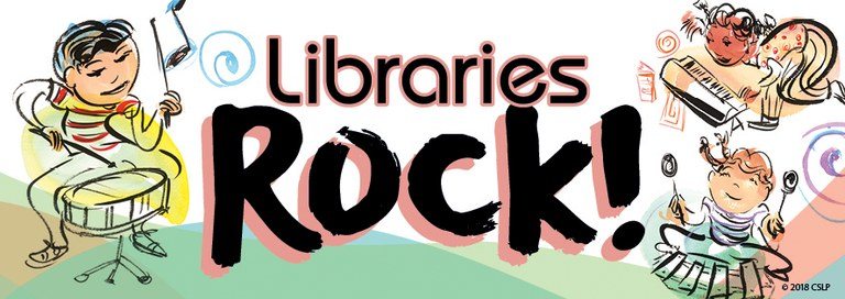 A banner with the Libraries Rock theme and images of children with instruments
