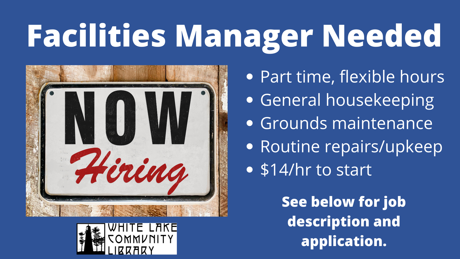 Facilities Manager see below