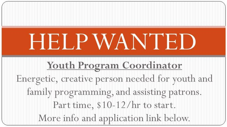 help wanted youth program coordinator for employment page dec 2018